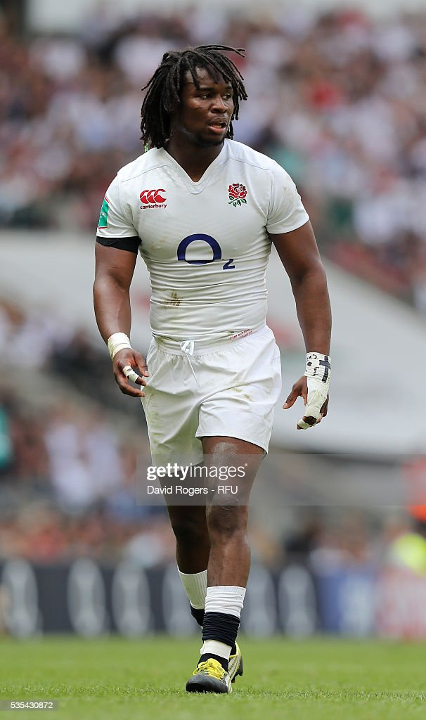 <a gi-track='captionPersonalityLinkClicked' href=/galleries/search?phrase=Marland+Yarde&family=editorial&specificpeople=6587696 ng-click='$event.stopPropagation()'>Marland Yarde</a> of England looks on during the England v Wales International match at Twickenham Stadium on May 29, 2016 in London, England.