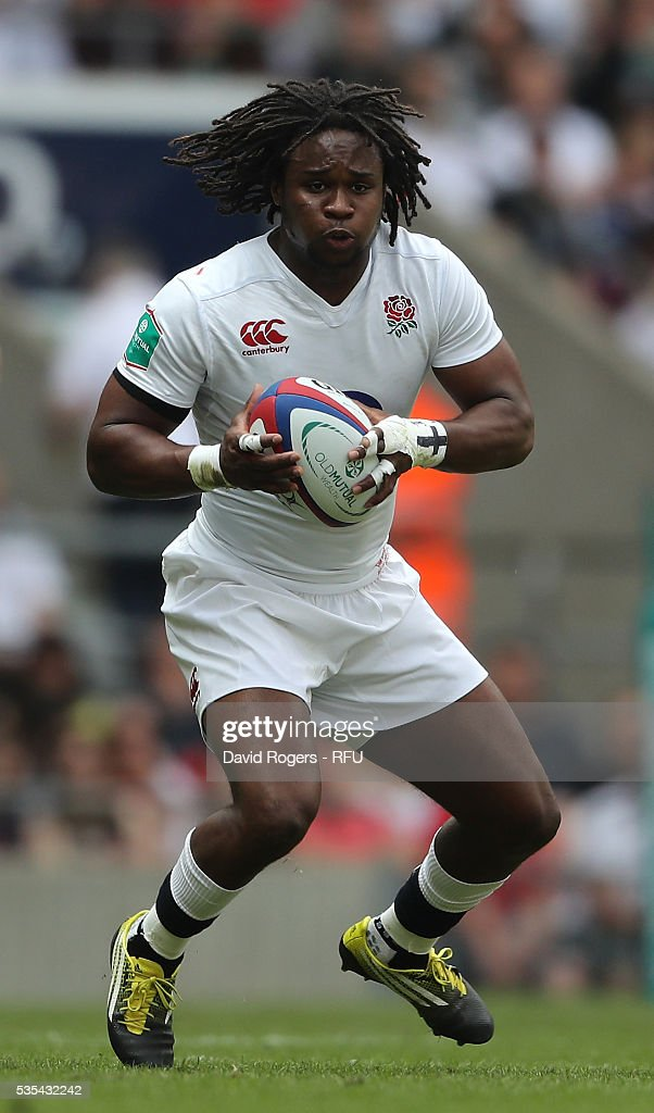 <a gi-track='captionPersonalityLinkClicked' href=/galleries/search?phrase=Marland+Yarde&family=editorial&specificpeople=6587696 ng-click='$event.stopPropagation()'>Marland Yarde</a> of England runs with the ball during the England v Wales International match at Twickenham Stadium on May 29, 2016 in London, England.