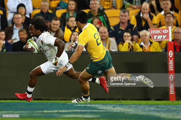 Marland Yarde of England scores a try during the International Test match between the Australian Wallabies and England at Suncorp Stadium on June 11...