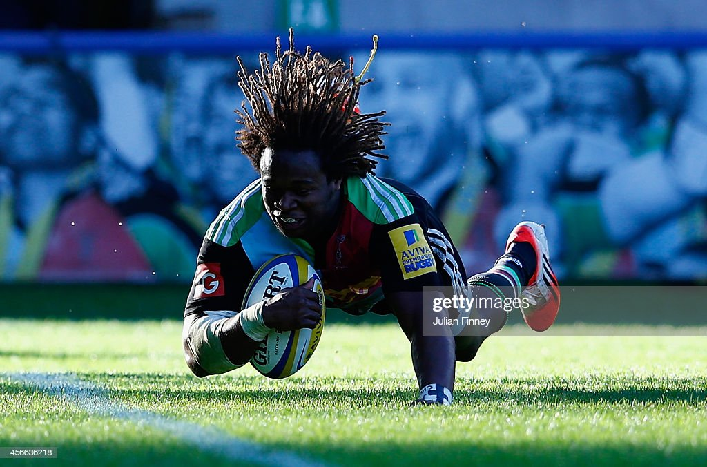 Marland Yarde of Harlequins scores a try during the Aviva Premiership match between Harlequins and London Welsh at Twickenham Stoop on October 4 2014...