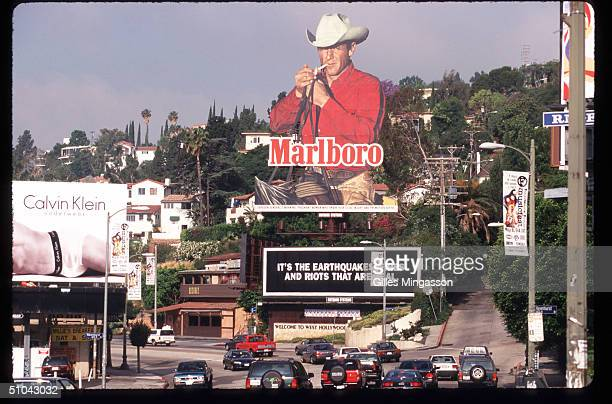 Marlboro Billboard Is On Display Near A Road April 30 1997 In Los Angeles Ca As Cigarette Manufacturers Were Trying To Find Ways Out Of Costly...
