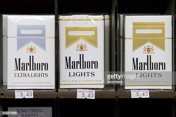 Marlboro cigarettes are on display at Leavitt and Peirce Tobacco in Cambridge Massachusetts Tuesday July 25 2006 Altria Group Inc the world's largest...