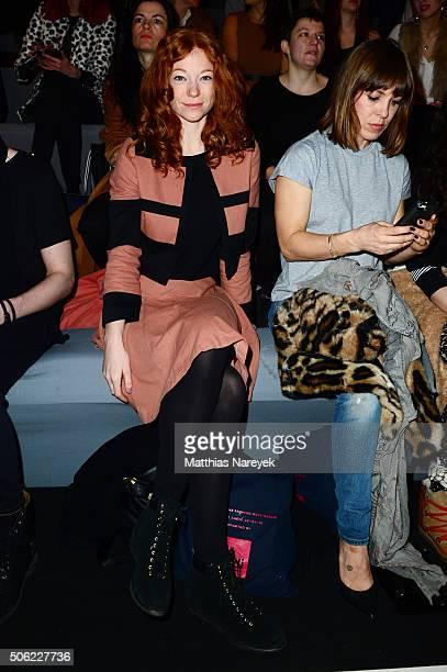 Marleen Lohse and Anne Kim Sarnau attend the Anne Gorke show during the MercedesBenz Fashion Week Berlin Autumn/Winter 2016 at Brandenburg Gate on...