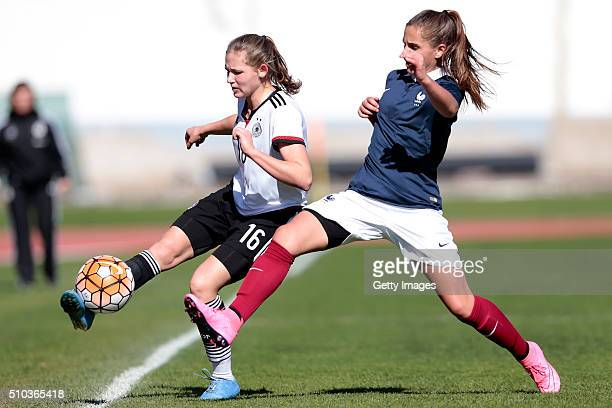 Marleen Schimmer of Germany callenges Océane Deslandes of France during the match of the U16 Girl's Germany v U16 Girl's France UEFA Tournament on...