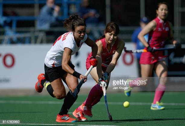 Marlena Rybacha of Poland and Minami Shimizu of Japan battle for possession during day 4 of the FIH Hockey World League Semi Finals Pool B match...
