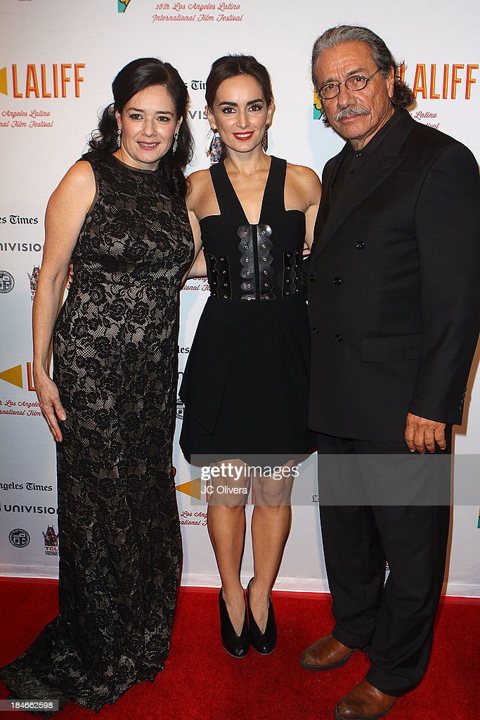 Marlene Dermer, Ana De La Reguera and <a gi-track='captionPersonalityLinkClicked' href=/galleries/search?phrase=Edward+James+Olmos&family=editorial&specificpeople=213817 ng-click='$event.stopPropagation()'>Edward James Olmos</a> attend The 2013 Los Angeles Latino International Film Festival - Closing Night Premiere of 'Nosotros Los Nobles' at The Orpheum Theatre on October 14, 2013 in Los Angeles, California.