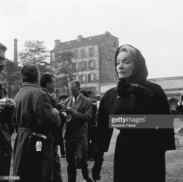 Marlene Dietrich at the funerals of singer Edith Piaf at Pere Lachaise cemetery on October 14 1963 in Paris France