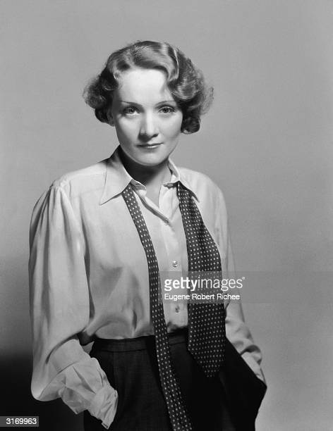 Marlene Dietrich casually dressed in shirt and loosened tie
