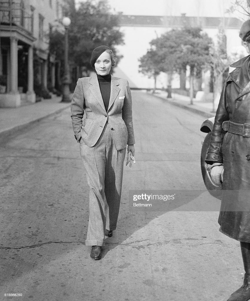 Marlene Dietrich leaving the Paramount Studio after a day's work