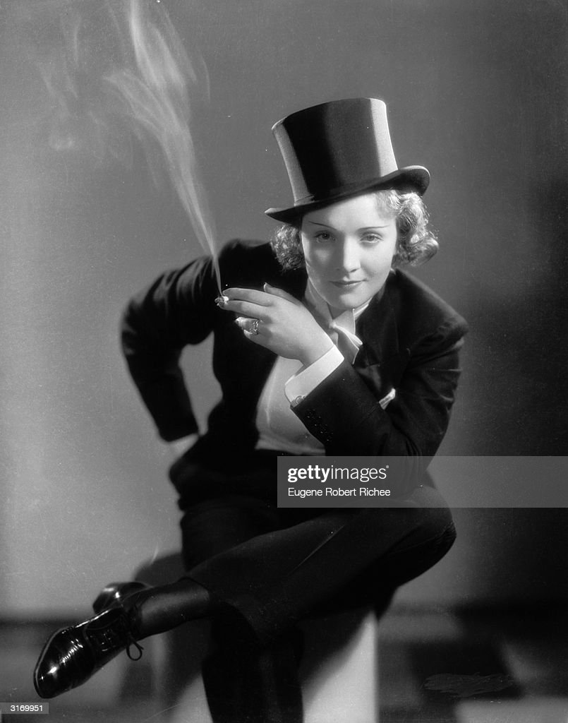 Marlene Dietrich (1901 - 1992) making her Hollywood film debut as the tuxedo clad Amy Jolly in the film 'Morocco', directed by Josef von Sternberg.
