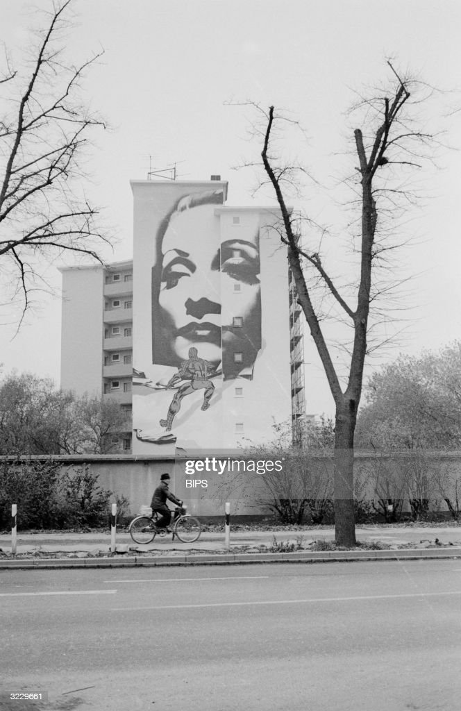 A Marlene Dietrich mural by German painter Wilhelm Moser fills the side of an apartment building in Dusseldorf, Germany.