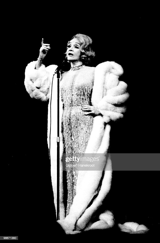 Marlene Dietrich performs live on stage at the Carre Theatre, Amsterdam, Netherlands on January 27 1975