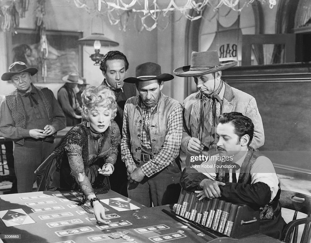 Marlene Dietrich (1901 - 1992) risks it all in 'Rancho Notorious', directed by Fritz Lang.