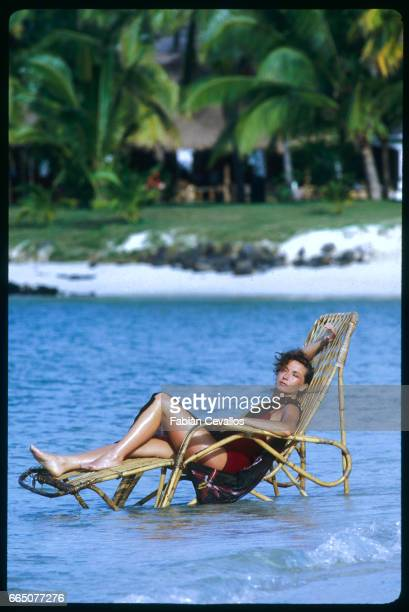 Marlene Jobert relaxes while on vacation in Mauritius