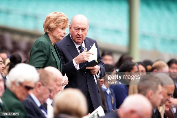 Marlene Mathews and Alan Jones arrive during a State Memorial service for Betty Cuthbert at Sydney Cricket Ground on August 21 2017 in Sydney...