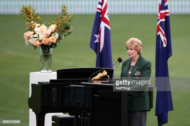 Marlene Mathews speaks during a State Memorial service for Betty Cuthbert at Sydney Cricket Ground on August 21 2017 in Sydney Australia Betty...