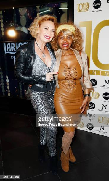 Marlene Mourreau and Regina Do Santos attend the presentation of the 10th Mr Gay Pride at Barcelo theatre on March 15 2017 in Madrid Spain