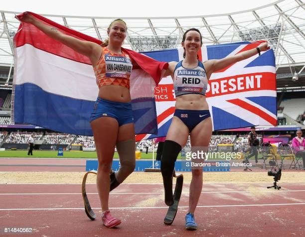 Marlene Van Gansewinkel of the Netherlands celebrates winning the silver medal with Stef Reid of Great Britain as she celebrates winning the gold...