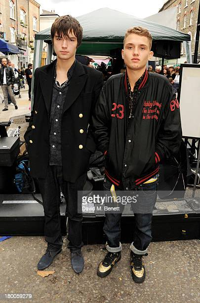 Marley Mackie and Rafferty Law of 'Dirty Harry' attend the Primrose Hill Festival on September 8 2013 in London England