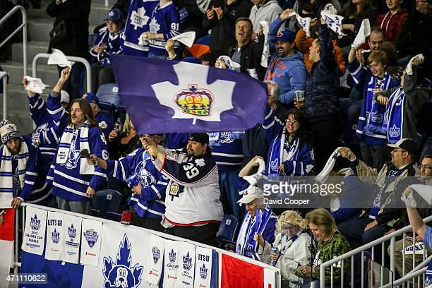 TORONTO ON APRIL 25 Marlies fans cheer for their team during the first game of the AHL playoffs for the Calder Cup between the Toronto Marlies and...