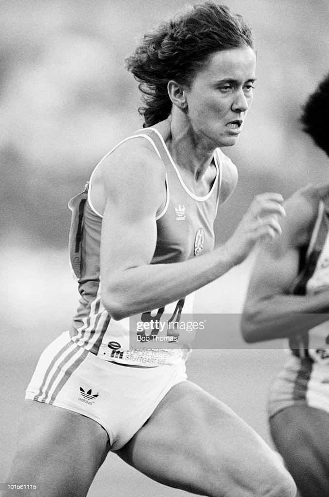 Marlies Gohr of East Germany, gold medallist in the women's 100m, during the European Athletics Championships held in Stuttgart, Germany in August 1986. (Bob Thomas/Getty Images).