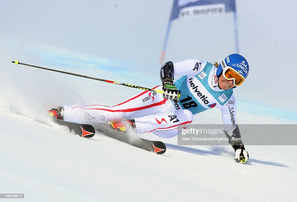 <a gi-track='captionPersonalityLinkClicked' href=/galleries/search?phrase=Marlies+Schild&family=editorial&specificpeople=209135 ng-click='$event.stopPropagation()'>Marlies Schild</a> of Austria competes during the Audi FIS Alpine Ski World Cup Women's Giant Slalom on December 09, 2012 in St. Moritz, Switzerland.