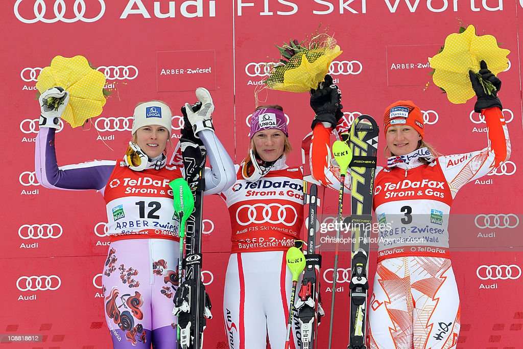 <a gi-track='captionPersonalityLinkClicked' href=/galleries/search?phrase=Marlies+Schild&family=editorial&specificpeople=209135 ng-click='$event.stopPropagation()'>Marlies Schild</a> of Austria takes 1st place, <a gi-track='captionPersonalityLinkClicked' href=/galleries/search?phrase=Veronika+Zuzulova&family=editorial&specificpeople=722650 ng-click='$event.stopPropagation()'>Veronika Zuzulova</a> of Slovakia takes 2nd place, <a gi-track='captionPersonalityLinkClicked' href=/galleries/search?phrase=Tanja+Poutiainen&family=editorial&specificpeople=215271 ng-click='$event.stopPropagation()'>Tanja Poutiainen</a> of Finland takes 3rd place during the Audi FIS Alpine Ski World Cup Women's Slalom on February 4, 2011 in Arber-Zwiesel, Germany.
