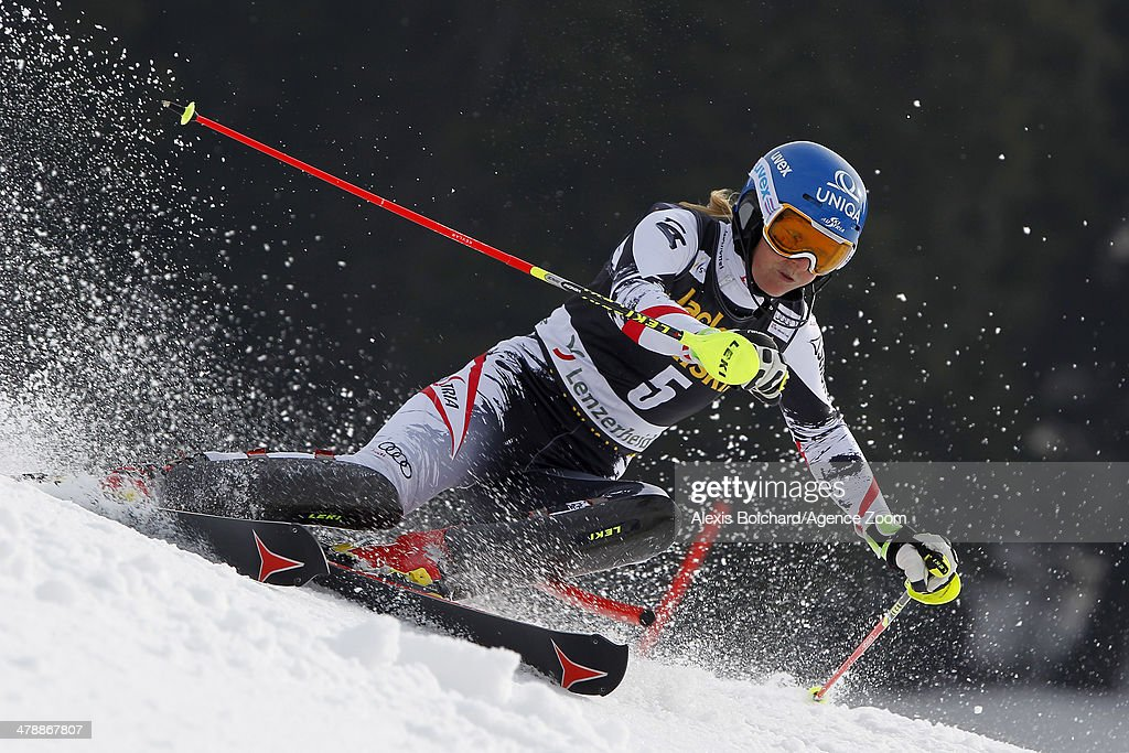 <a gi-track='captionPersonalityLinkClicked' href=/galleries/search?phrase=Marlies+Schild&family=editorial&specificpeople=209135 ng-click='$event.stopPropagation()'>Marlies Schild</a> of Austria takes 3rd place and comes third in the overall slalom World Cup during the Audi FIS Alpine Ski World Cup Finals Women's Slalom on March 15, 2014 in Lenzerheide, Switzerland.