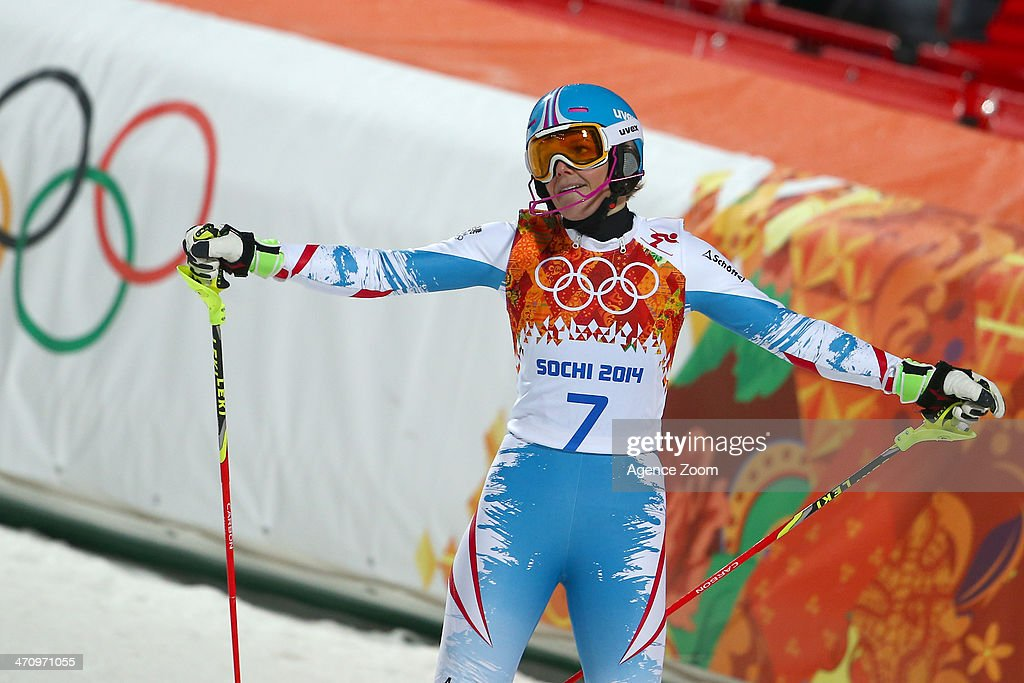Marlies Schild of Austria wins the silver medal during the Alpine Skiing Women's Slalom at the Sochi 2014 Winter Olympic Games at Rosa Khutor Alpine Centre on February 21, 2014 in Sochi, Russia.