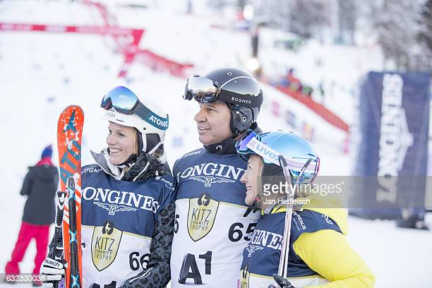 Marlies Schild Peter Schroecksnadel and Hanni WeiratherWenzel pose for a picture during the KitzCharityTrophy on January 21 2017 in Kitzbuehel Austria