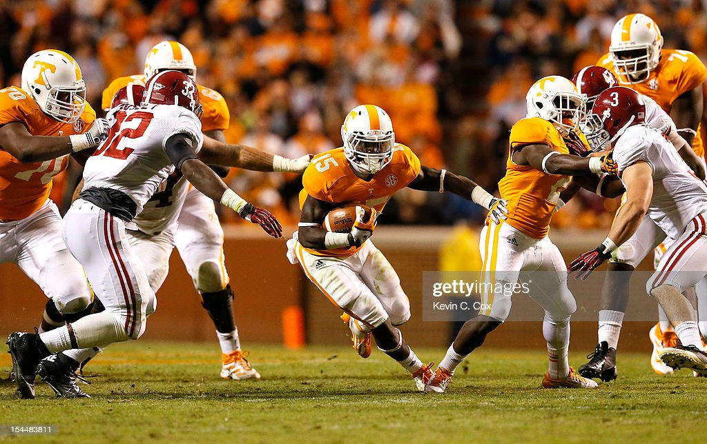 Marlin Lane #15 of the Tennessee Volunteers rushes against the Alabama Crimson Tide at Neyland Stadium on October 20, 2012 in Knoxville, Tennessee.