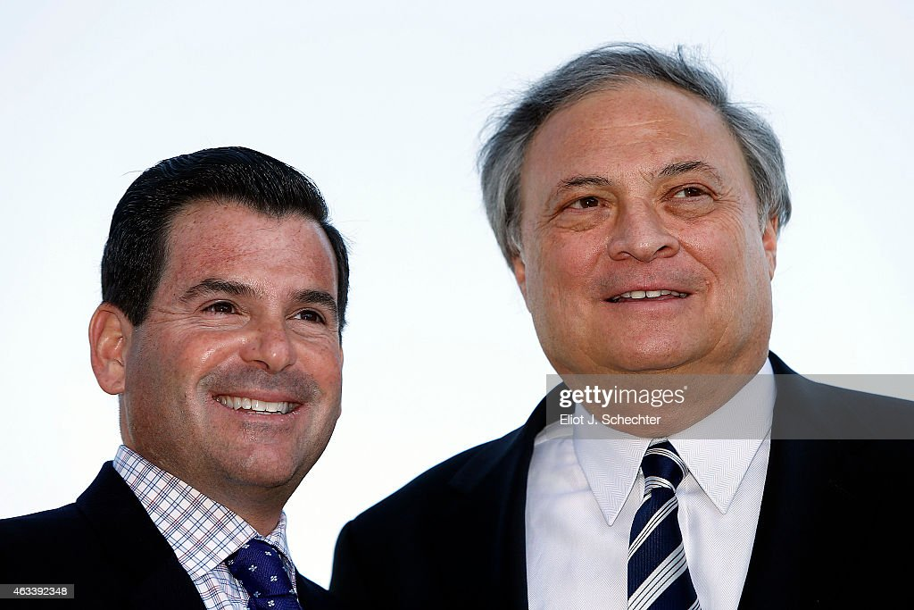 Marlins President David P. Samson and Marlins owner <a gi-track='captionPersonalityLinkClicked' href=/galleries/search?phrase=Jeffrey+Loria&family=editorial&specificpeople=692109 ng-click='$event.stopPropagation()'>Jeffrey Loria</a> pose for a photo after the press conference announcing the Miami Marlins will host the 2017 Major League Baseball Game at Marlins Park on Friday, February 13, 2015 in Miami, Florida.