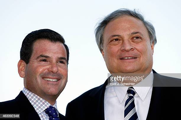Marlins President David P Samson and Marlins owner Jeffrey Loria pose for a photo after the press conference announcing the Miami Marlins will host...