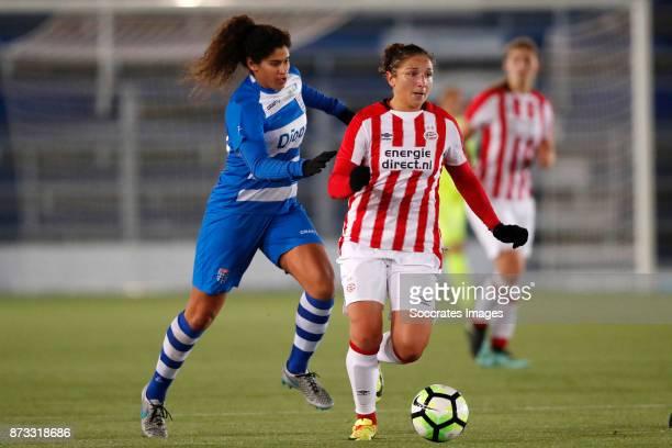 Marlo Carmen Colette Sweatman of PEC Zwolle Sara Yuceil of PSV during the Dutch Eredivisie Women match between PEC Zwolle v PSV at the MAC3PARK...