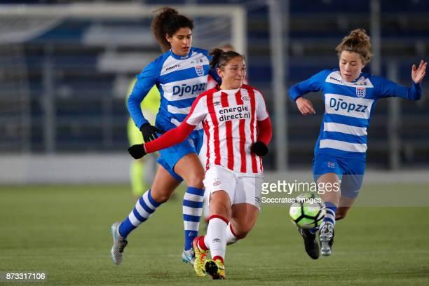 Marlo Carmen Colette Sweatman of PEC Zwolle Sara Yuceil of PSV Nurija van Schoonhoven of PEC Zwolle during the Dutch Eredivisie Women match between...