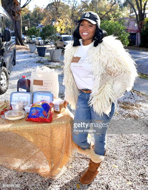 Marlo Hampton attends a Thanksgiving Meal Giveaway With Nene and Marlo at Gio's on November 19 2017 in Atlanta Georgia