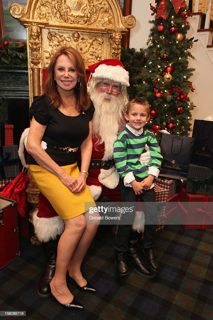 Marlo Thomas and a patient from St. Jude Children's Research Hospital pose with Santa Claus during The Brooks Brothers Hosts Seventh Annual Holiday Celebration To Benefit St Jude Children's Research Hospital on December 12, 2012 in New York City.