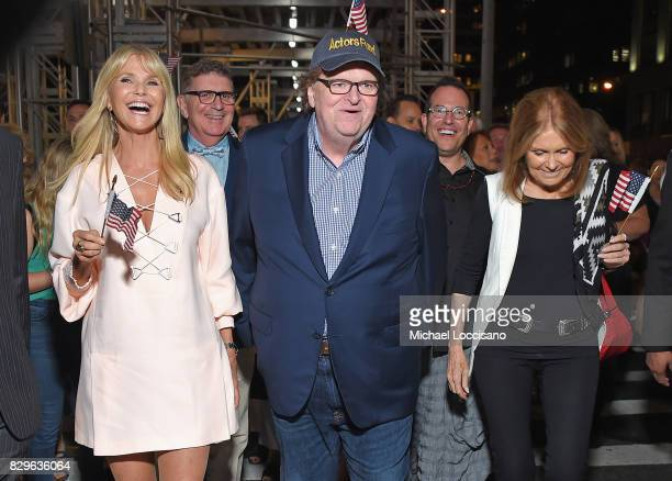 Marlo Thomas Christie Brinkley awardwinning filmmaker Michael Moore and Gloria Steinem celebrate his Broadway Opening Night in 'The Terms of My...