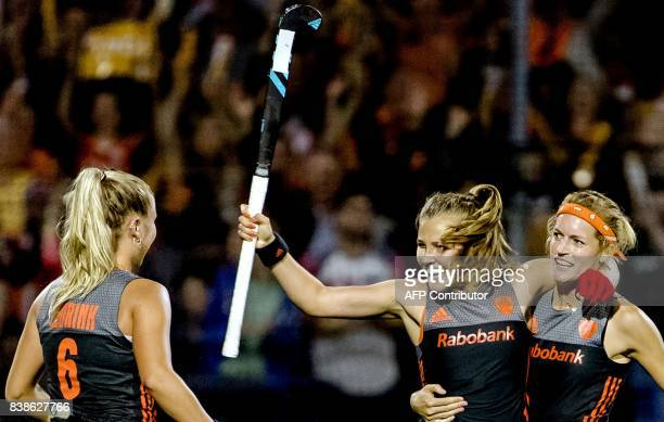 Marloes Keetels of The Netherlands reacts after scoring during the women's EuroHockey Championships match between the Netherlands and England in...