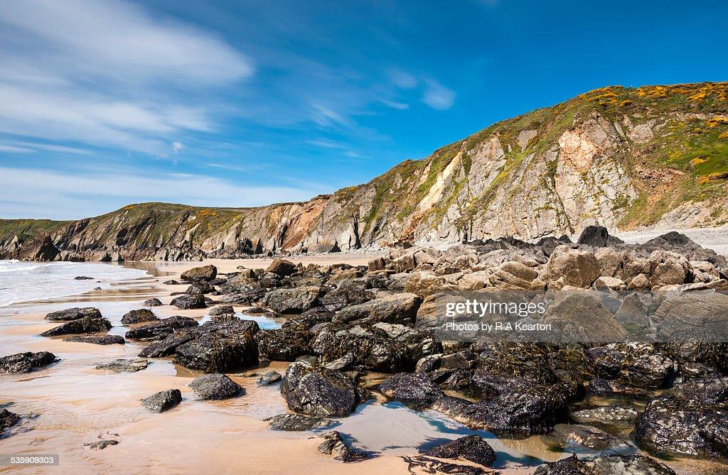 Marloes sands in spring sunshine, Wales : Foto de stock