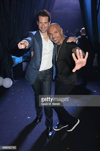 Marlon Abela and David Morales attend the 10th anniversary of Mortons in Berkeley Square Gardens on October 2 2014 in London England