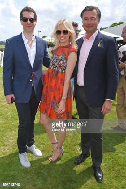 Marlon Abela Nadya Abela and Laurent Feniou attend the Cartier Queen's Cup Polo final at Guards Polo Club on June 18 2017 in Egham England