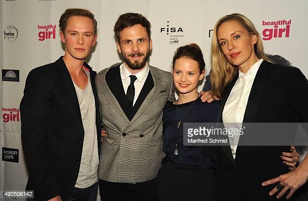 Marlon Boess director Dominik Hartl Jana Naomi McKinnon and Lilian Klebow pose during the 'Beautiful Girl' Vienna premiere at UCI Kinowelt Millenium...