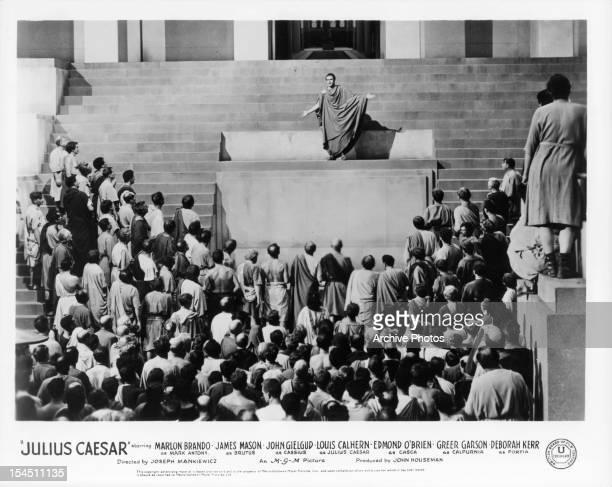 Marlon Brando speaking before the people in a scene from the film 'Julius Caesar' 1953