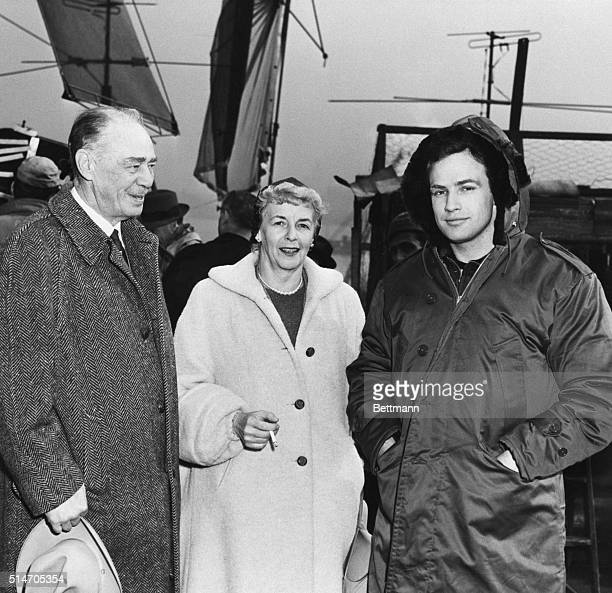 Marlon Brando's parents visit him on location in Hoboken during production of On the Waterfront