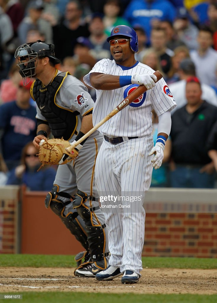 <a gi-track='captionPersonalityLinkClicked' href=/galleries/search?phrase=Marlon+Byrd&family=editorial&specificpeople=217377 ng-click='$event.stopPropagation()'>Marlon Byrd</a> #24 of the Chicago Cubs reacts after striking out to end the game against Ryan Doumit #41 and the Pittsburgh Pirates at Wrigley Field on May 15, 2010 in Chicago, Illinois. The Pirates defeated the Cubs 4-3.