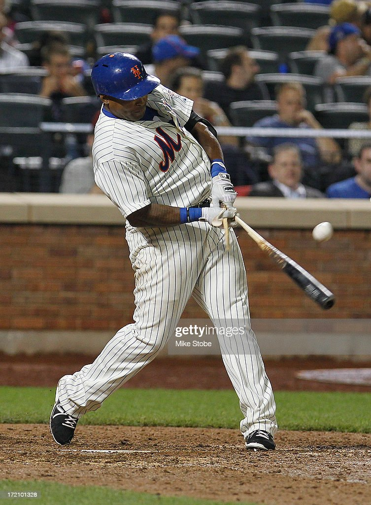 <a gi-track='captionPersonalityLinkClicked' href=/galleries/search?phrase=Marlon+Byrd&family=editorial&specificpeople=217377 ng-click='$event.stopPropagation()'>Marlon Byrd</a> #6 of the New York Mets hits a broken bat single in the seventh inning against the Arizona Diamondbacks at Citi Field on July 1, 2013 at Citi Field in the Flushing neighborhood of the Queens borough of New York City.