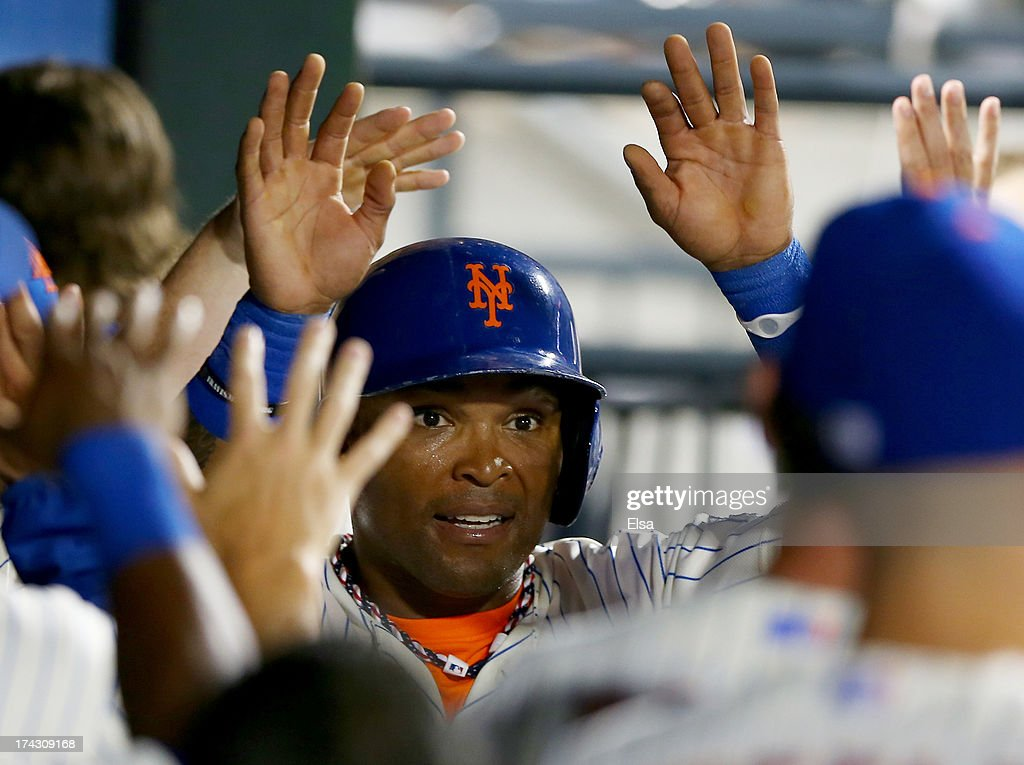 <a gi-track='captionPersonalityLinkClicked' href=/galleries/search?phrase=Marlon+Byrd&family=editorial&specificpeople=217377 ng-click='$event.stopPropagation()'>Marlon Byrd</a> #6 of the New York Mets is congratulated after he scored a run in the sixth inning against the Atlanta Braves on July 23, 2013 at Citi Field in the Flushing neighborhood of the Queens borough of New York City.
