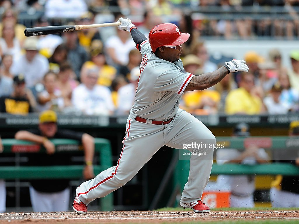Marlon Byrd #3 of the Philadelphia Phillies bats against the Pittsburgh Pirates on July 6, 2014 at PNC Park in Pittsburgh, Pennsylvania.