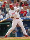 Marlon Byrd of the Philadelphia Phillies bats during the game against the Montreal Expos at Citizens Bank Park on April 18 2004 in Philadelphia...